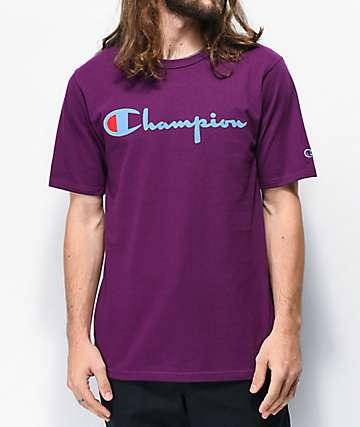 Champion Flock Script Purple T-Shirt