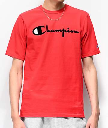 Champion Flock Script Red T-Shirt