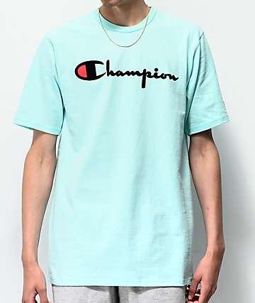 Champion Flock Script Waterfall Green T-Shirt