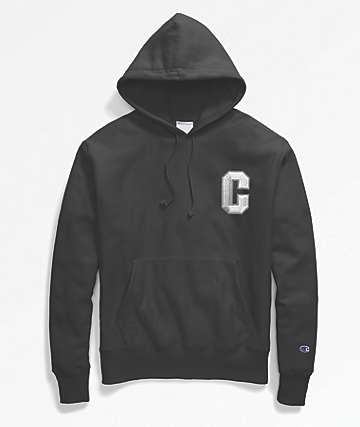 Champion Floss Stitch C Logo Black Hoodie