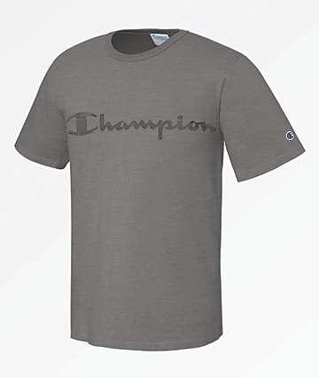Champion Garment Dyed Clear Gel Logo Grey T-Shirt