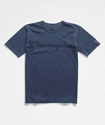 Champion Garment Dyed Clear Gel Logo Indigo T-Shirt