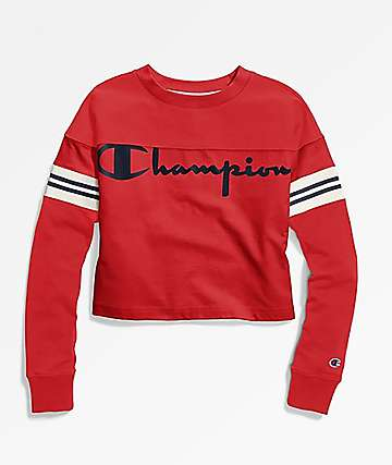 Champion Heavyweight Exaggerated Sleeve Red Crop Long Sleeve T-Shirt