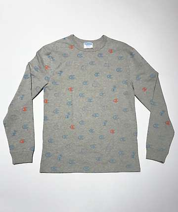Champion Heritage Allover Print Oxford Grey Long Sleeve T-Shirt
