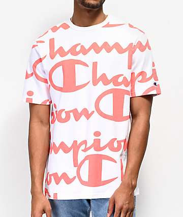 1fb2578612fa Champion Heritage Allover Script Coral   White T-Shirt