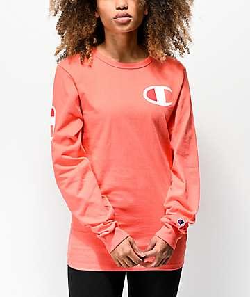 52872037ce7 Champion Heritage Big C Groovy Papaya Long Sleeve T-Shirt