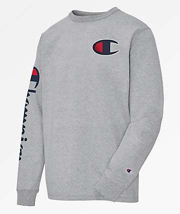 Champion Heritage Big C Oxford Grey Long Sleeve T-Shirt