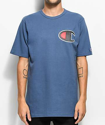 Champion Heritage Big C Patch Blue T-Shirt