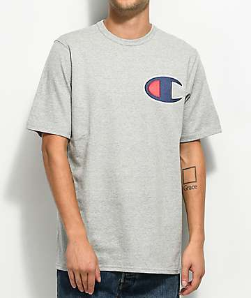 Champion Heritage Big C Patch Heather Grey T-Shirt