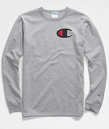 Champion Heritage Big C Patch Oxford Grey Long Sleeve T-Shirt