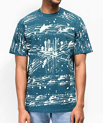 Champion Heritage C Bleach Splatter Green T-Shirt