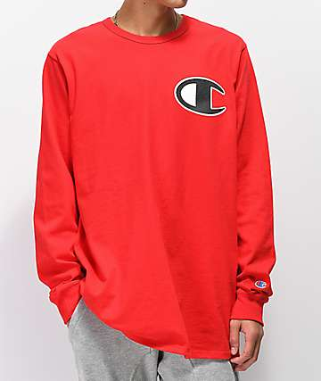 Champion Heritage C Patch Red Long Sleeve T-Shirt