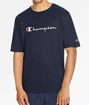 Champion Heritage Embroidered Large Script Navy T-Shirt