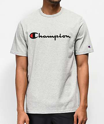 Champion Heritage Embroidered Large Script Oxford Grey T-Shirt