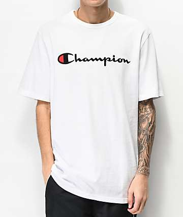 Champion Heritage Embroidered Large Script White T-Shirt
