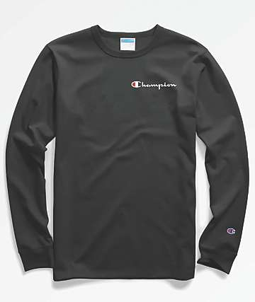 Champion Heritage Embroidered Script Black Long Sleeve T-Shirt