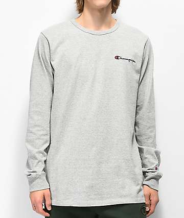 Champion Heritage Embroidered Script Oxford Grey Long Sleeve T-Shirt
