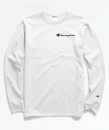 Champion Heritage Embroidered Script White Long Sleeve T-Shirt