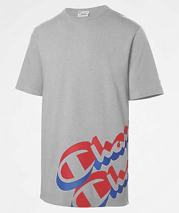 Champion Heritage Panel Script Oxford Grey T-Shirt