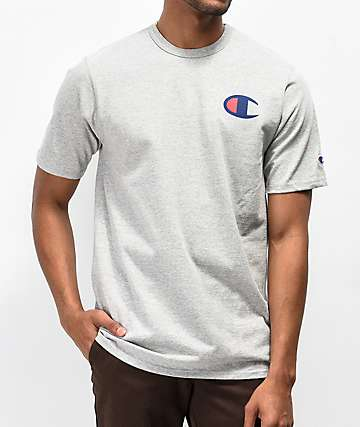 Champion Heritage Patriotic Navy C Oxford Grey T-Shirt