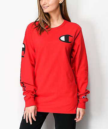 5ff98a47242 Champion Heritage Red Long Sleeve T-Shirt