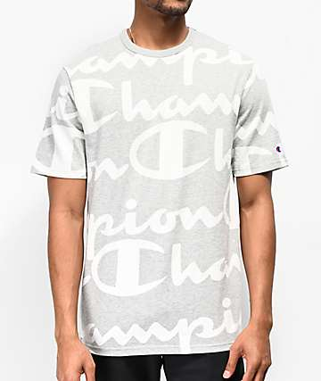Champion Heritage Repeat Script Oxford Grey T-Shirt