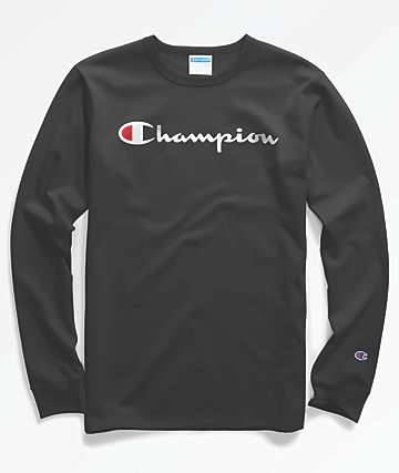 Champion Heritage Script Black Long Sleeve T-Shirt