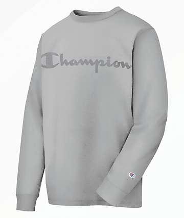 Champion Heritage Script Grey Long Sleeve T-Shirt