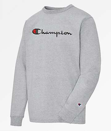 Champion Heritage Script Oxford Grey Long Sleeve T-Shirt