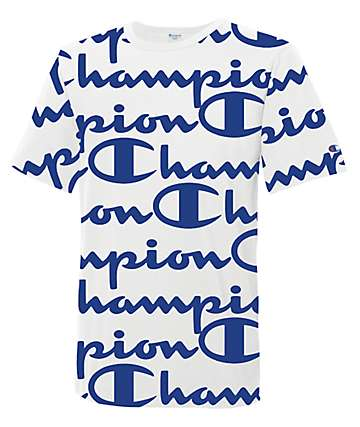 Champion Heritage Script White & Blue T-Shirt