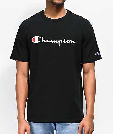 Champion Heritage Script camiseta negra con bordado 87badd486fbf0