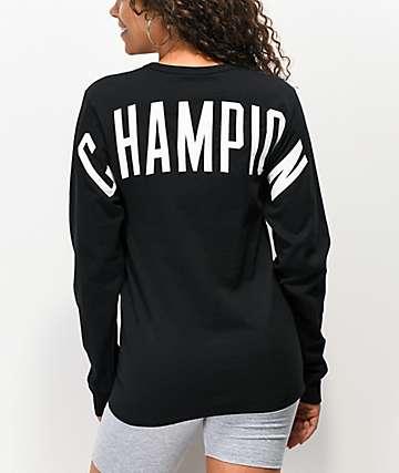 Champion Heritage Shoulder Hit Black Long Sleeve T-Shirt