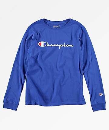 Champion Heritage Surf camiseta de manga larga azul para niños
