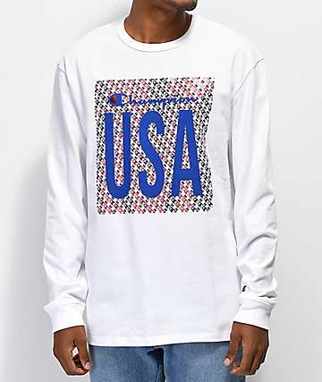 Champion Heritage USA White Long Sleeve T-Shirt
