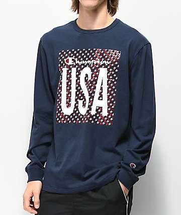 Champion Heritage USA camiseta de manga larga azul marino