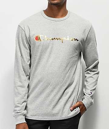 Champion Heritage camiseta de manga larga en gris y oro