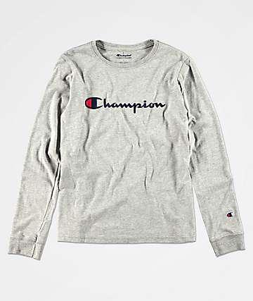 Champion Heritage camiseta de manga larga gris para niños