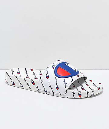 Champion IPO All-Over Repeat White Slide Sandals