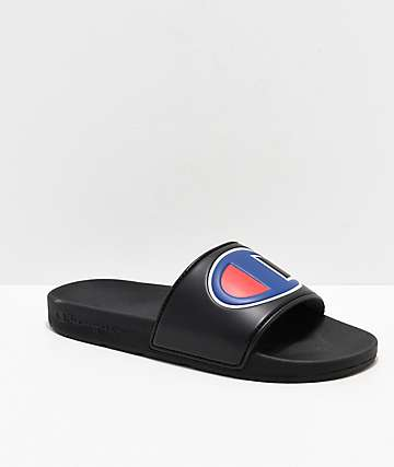 37133a76ead Champion IPO Black   Blue Slide Sandals