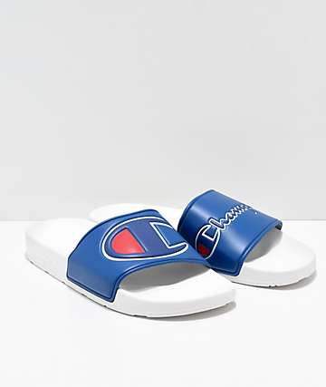 Champion IPO Blue & White Slide Sandals