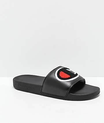 Champion IPO Chenille Black & Red Slide Sandals