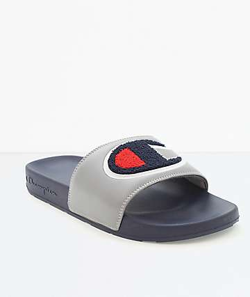 Champion IPO Chenille Grey & Navy Slide Sandals