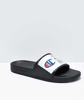 36b8642aa6cd0 Champion IPO Jock Black   White Slide Sandals