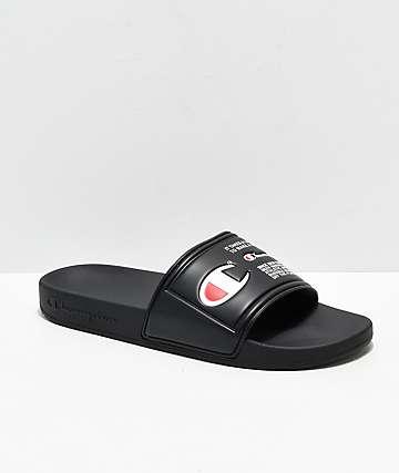 Champion IPO Jock Black Slide Sandals