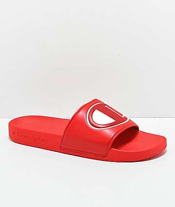 Champion IPO Red Slide Sandals