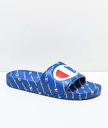 Champion IPO Repeat Blue Slide Sandals