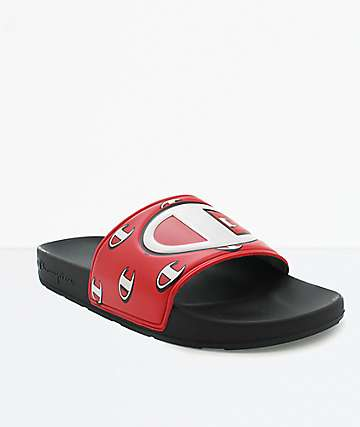 Champion IPO Repeat C Black & Red Slide Sandals