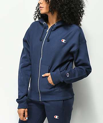 Champion Imperial Indigo Reverse Weave Zip Up Hoodie