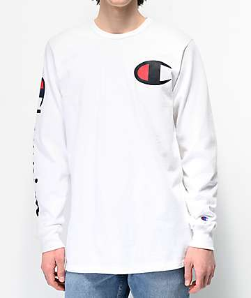 Champion Large C White Long Sleeve T-Shirt