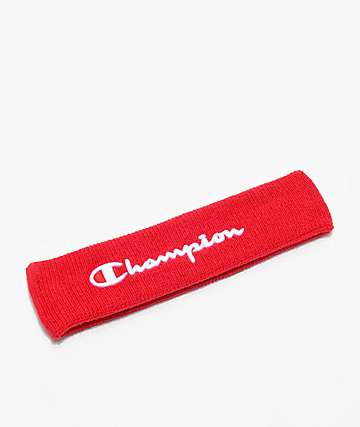 Champion Logo Red Terry Headband